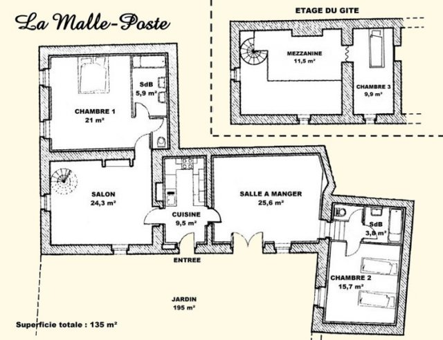 Drawing of La Malle Poste, a luxury self catering in a guest house located in Charente, South-West of France